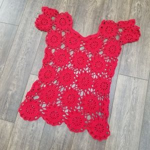 Dresses & Skirts - Red Crotchet Cover Up Top - M/L